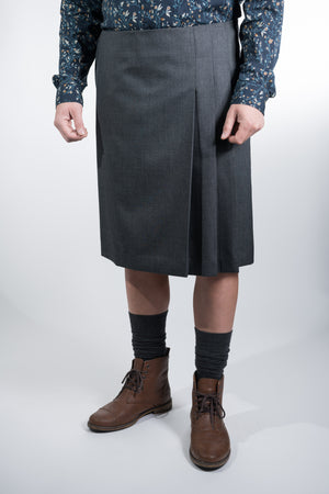 Man Skirt Pleats Dark Gray