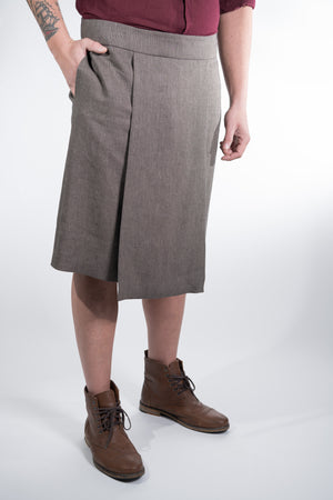 Man Skirt Panel Grey Linen