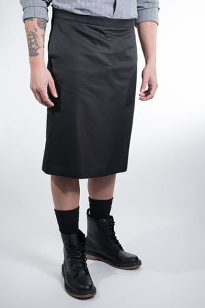 Man Skirt Basic Black Cotton