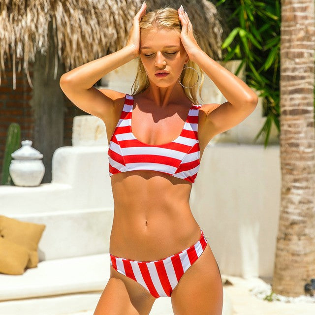 Candy Striped Bikini Set