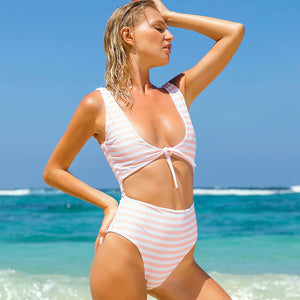 Striped One Piece - pink