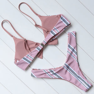 Blushed Stripe Bikini Set