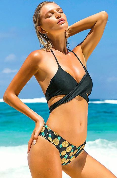 Pineapples Wrap Around Bikini Set