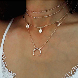 Moon Pendant Layered Choker Necklace
