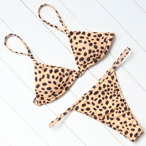 Leopard Jungle Print Triangle Bikini