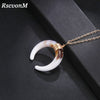 RscvonM Delicate kolye pendant Necklace Curved crescent Moon Necklace White Black Colour Necklace ladies Jewelry Birthday Gift