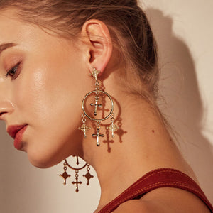Vintage Cross Drop Earrings