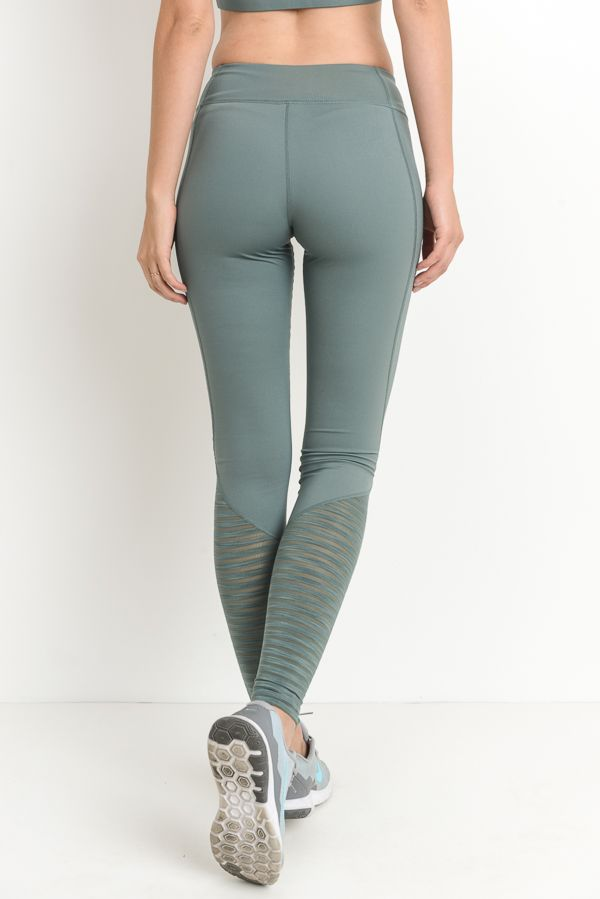 Burnout Yoga Pants - Olive Green