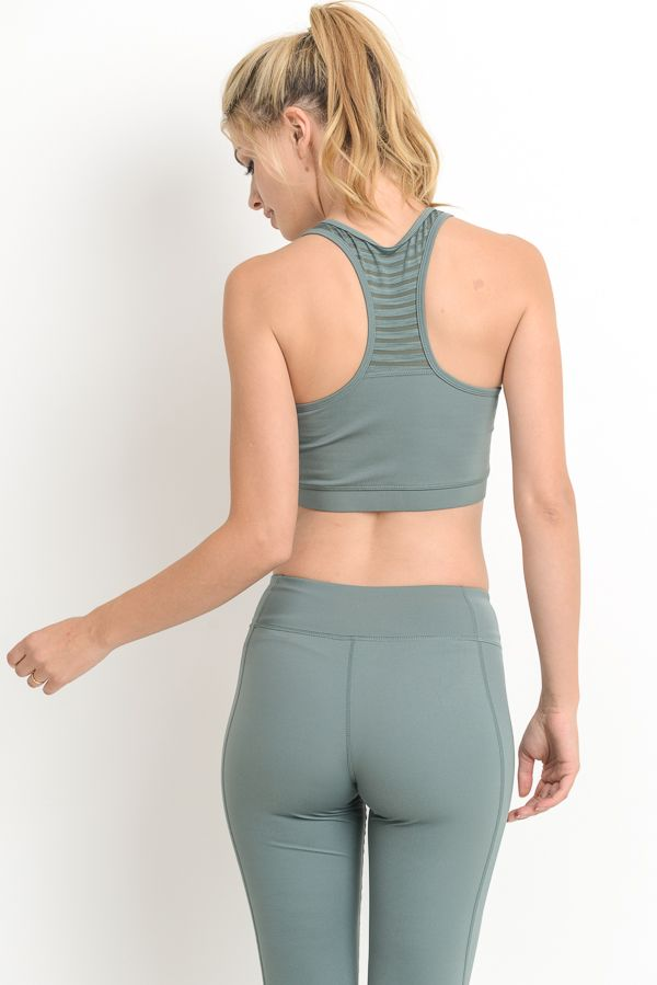 Burnout Active Bra - Olive Green