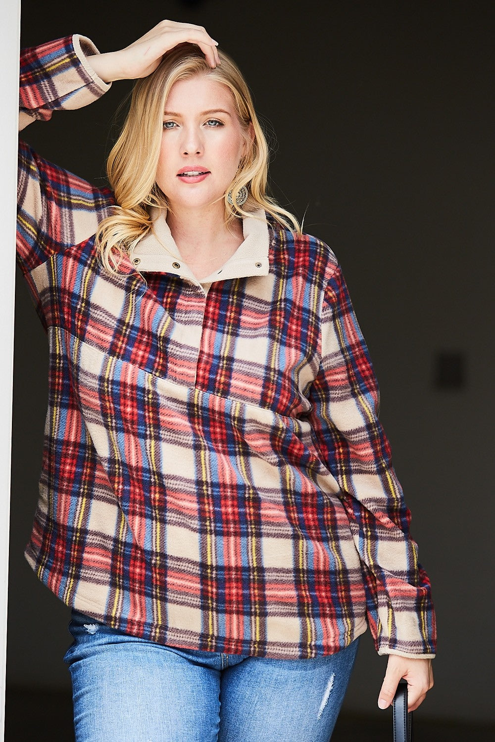 Plaid Fleece Pullover