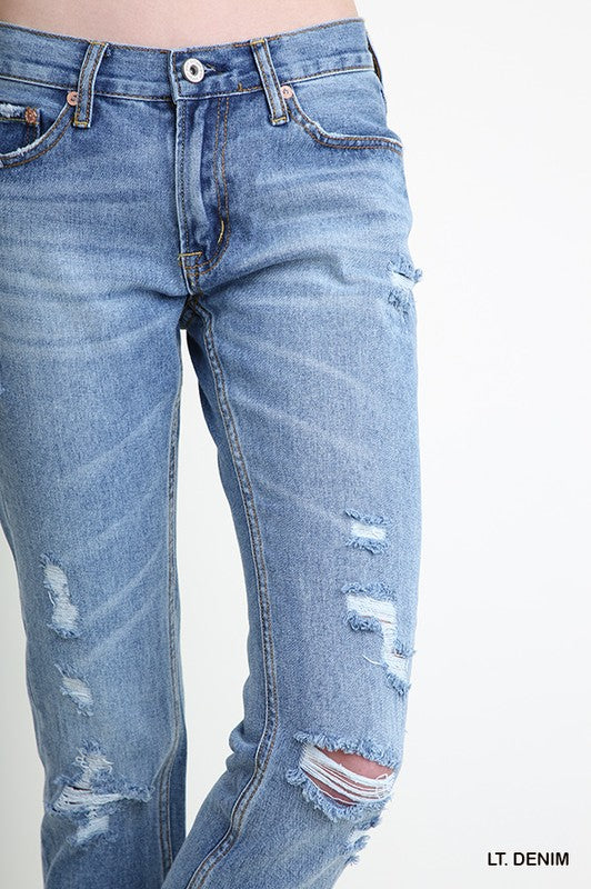 Distressed Denim Straight Leg 5 Pocket Jean with Button Front Closure