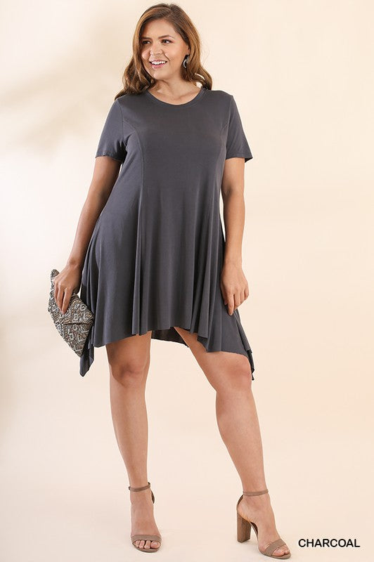 Basic Short Sleeve Cupro Dress