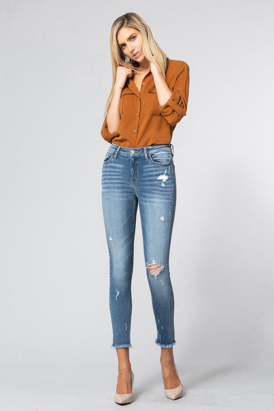 Mid Rise Fray Hem Cropped Skinny Jean