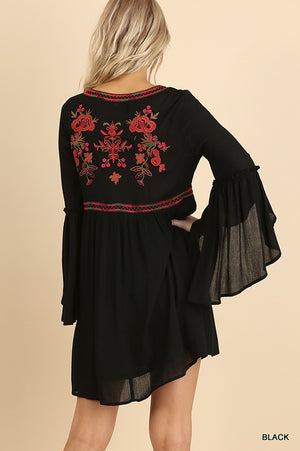 Floral Embroidered V-Neck Dress with Tulip Bell Sleeves