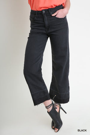 Stretch 5 Pocket Mid Rise Wide Leg Cropped Jean w/ Raw Hem