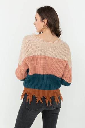 Fringed Color Block Sweater