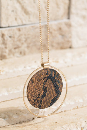 Faux Animal Print Pendant Necklace