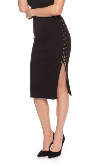 Pencil Skirt with Lace up Slits
