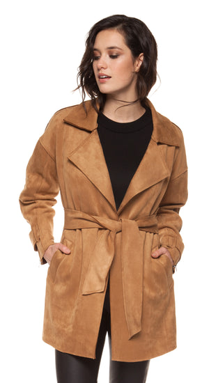 Faux Suede Self Sash Jacket