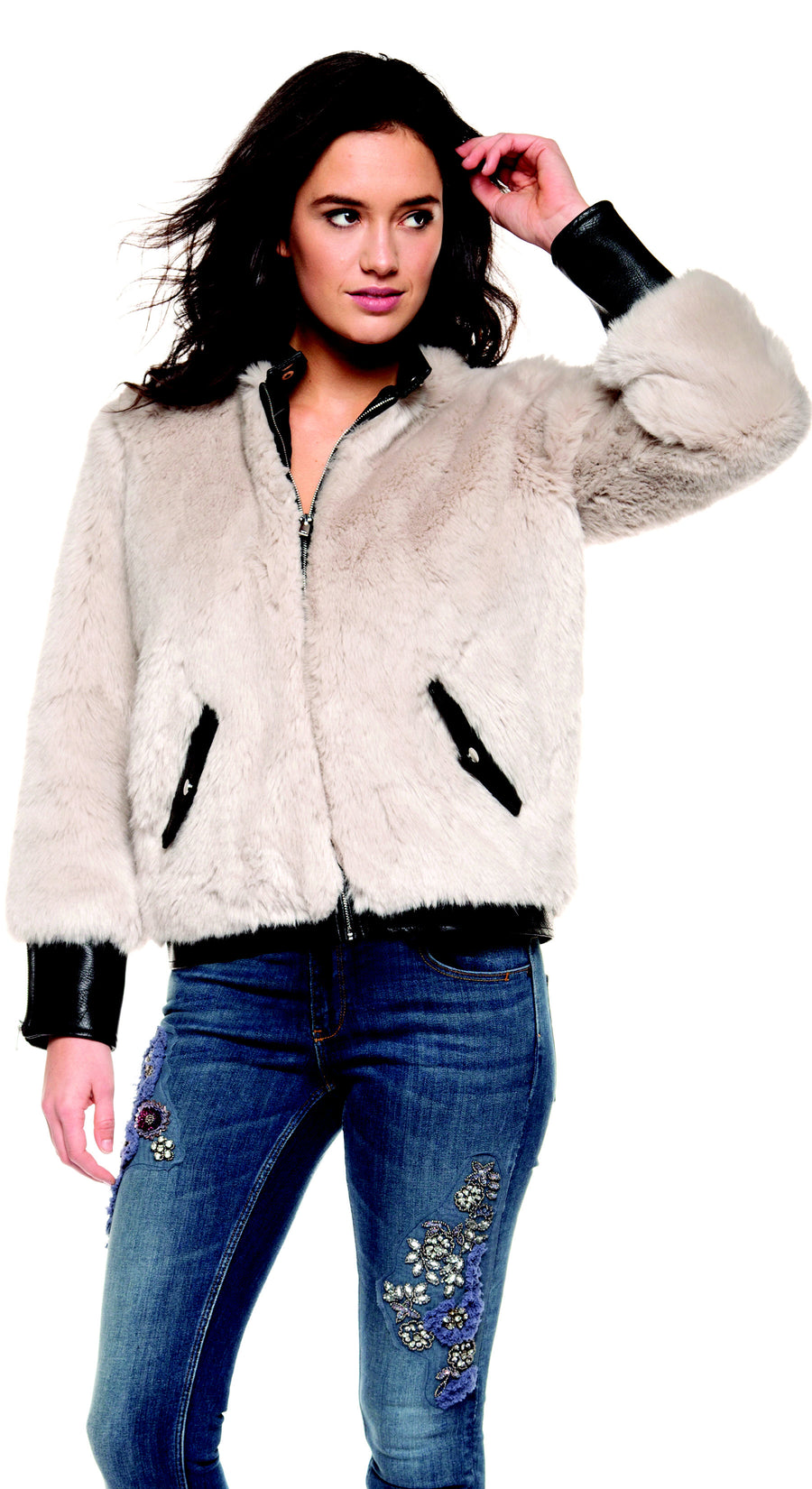 Faux Fur Pu Jacket