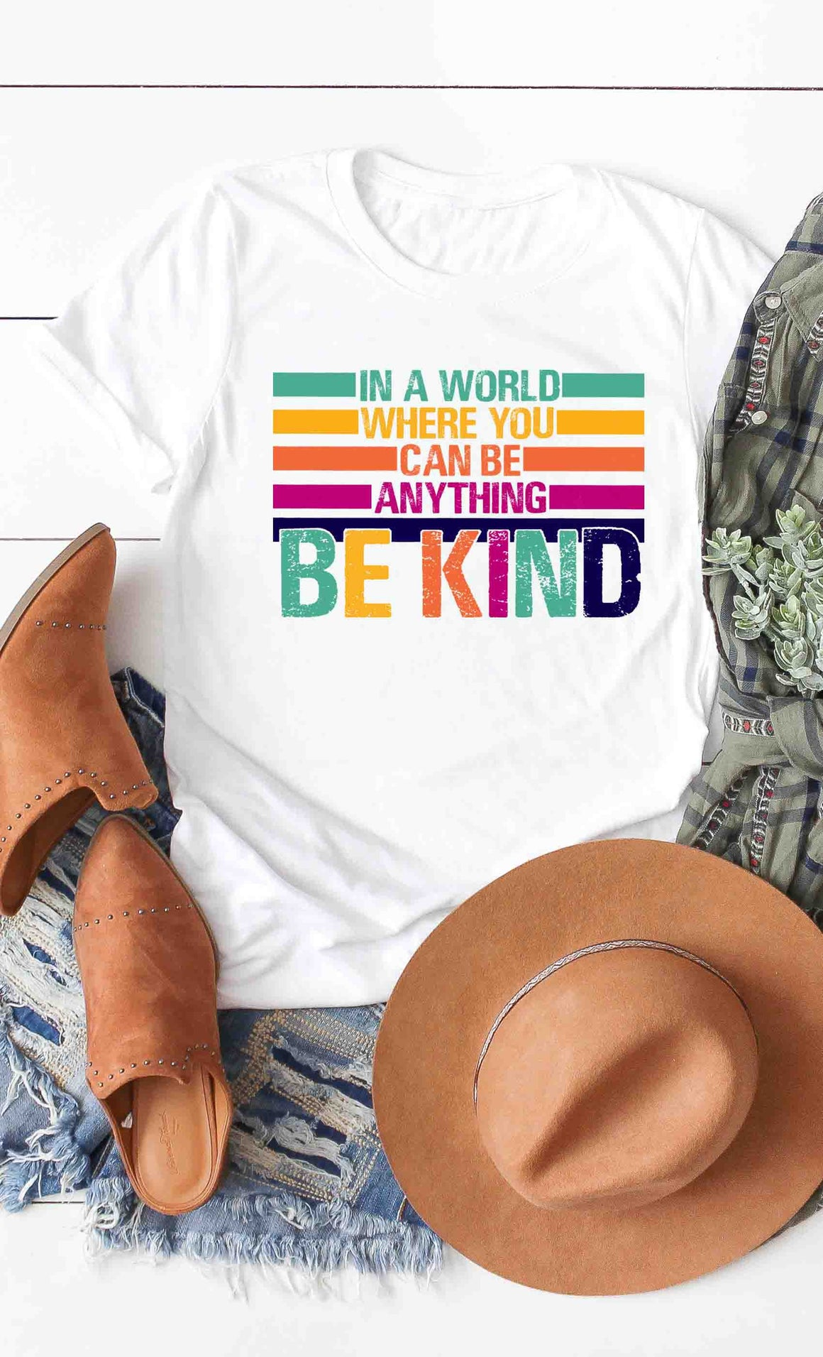 Rainbow Distressed Be Kind Tee
