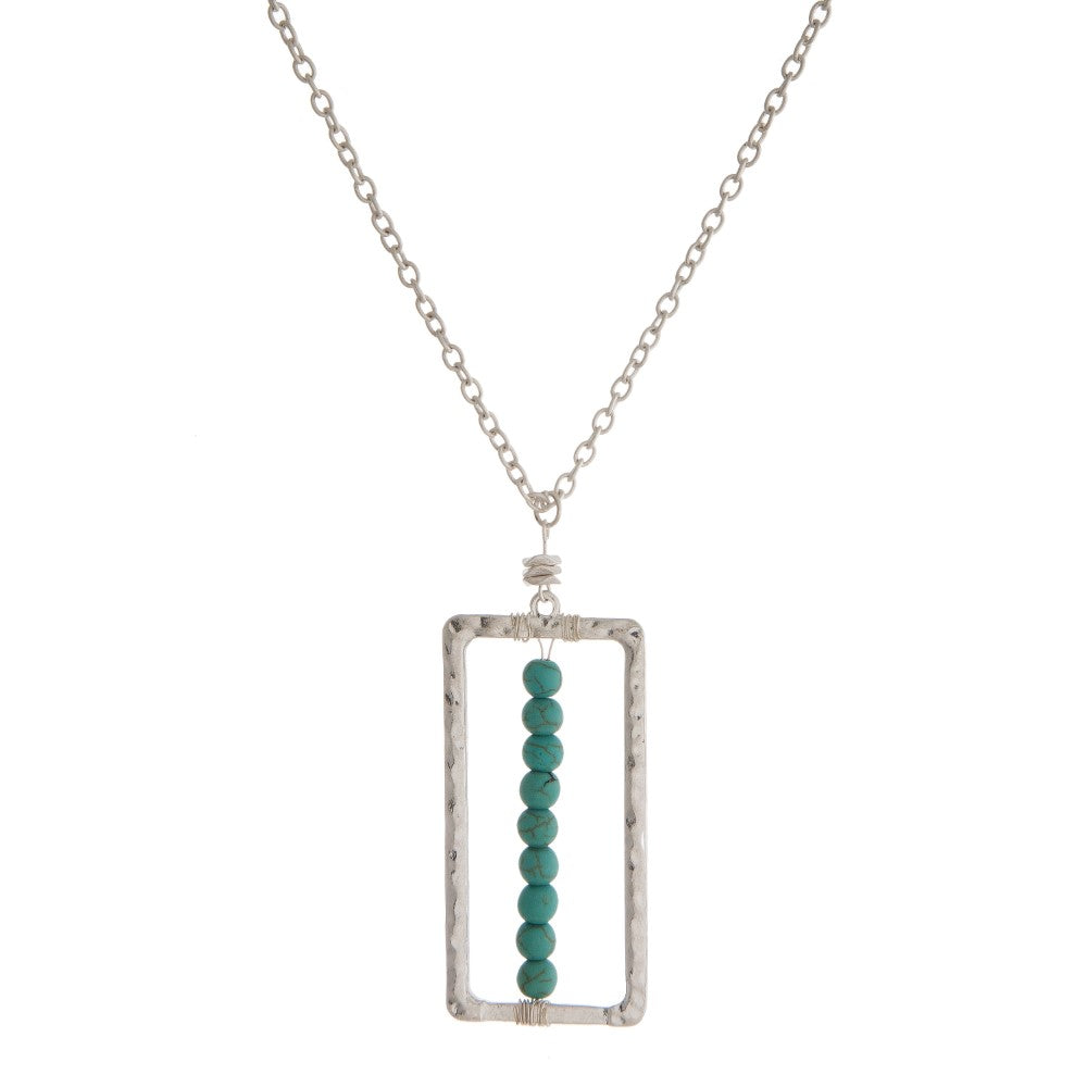 Rectangle Pendant with Natural Stone