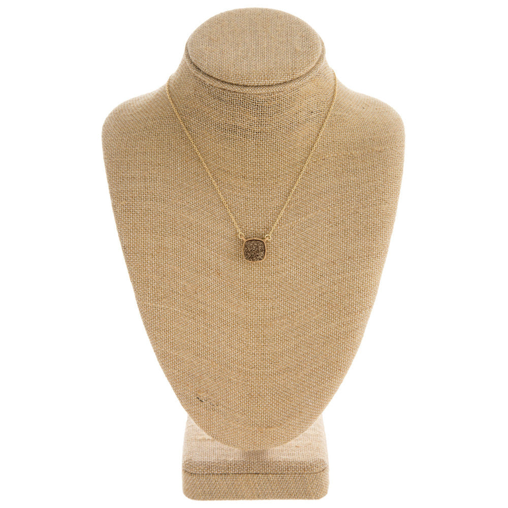 Druzy Encased Pendant Necklace