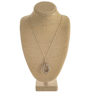 Teardrop Pendant Necklace with Rhinestone Detail