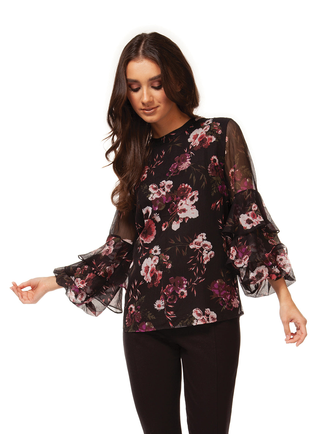 3/4 Tiered Sleeve Blouse