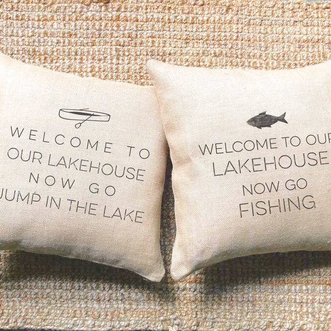 Welcome to our Lakehouse Pillow