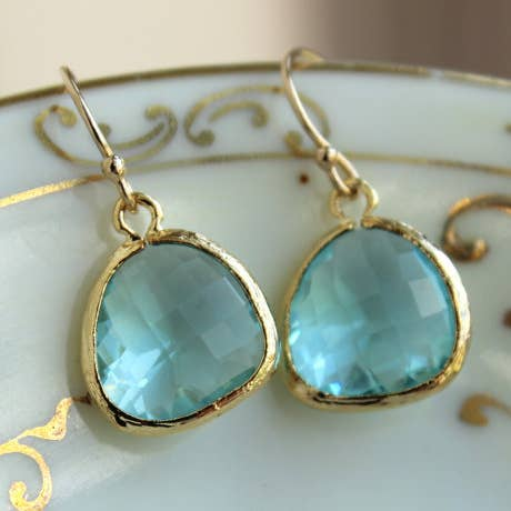 Aquamarine Blue Earrings Gold Plated