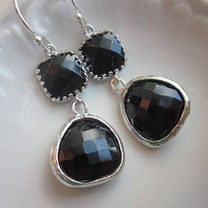 Black Onyx Earrings Silver Two Tier