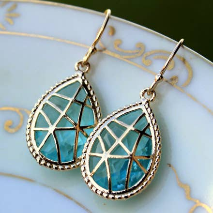 Aquamarine Earrings Blue Gold