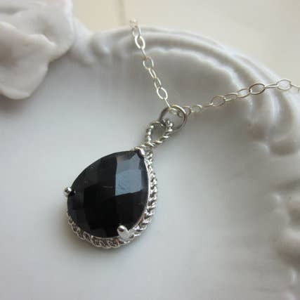 Black Onyx Necklace Silver Teardrop