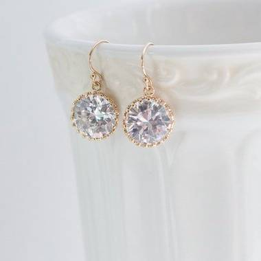 Gold Crystal Clear Round Earrings