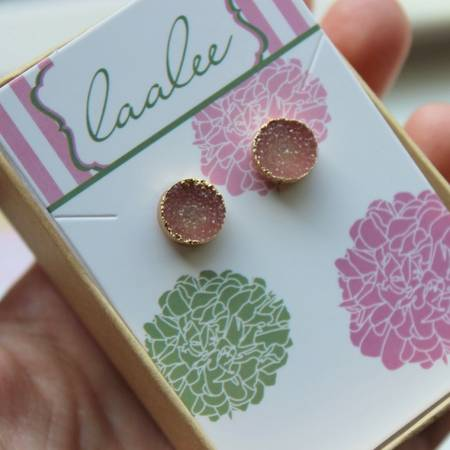 Rose Druzy Stud Earrings