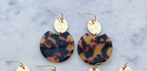 Tortoise Shell Earrings, Resin Earrings