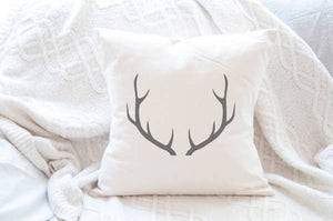 Antlers Cotton Canvas Pillow