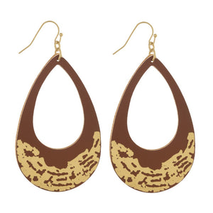 Leather and Gold Teardrop Earring