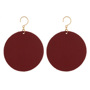 Circle Faux Leather Earrings