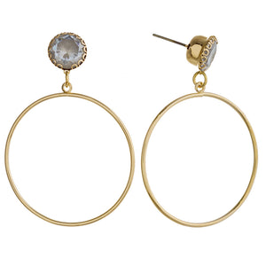 Round Drop Earrings with Rhinestone Detail