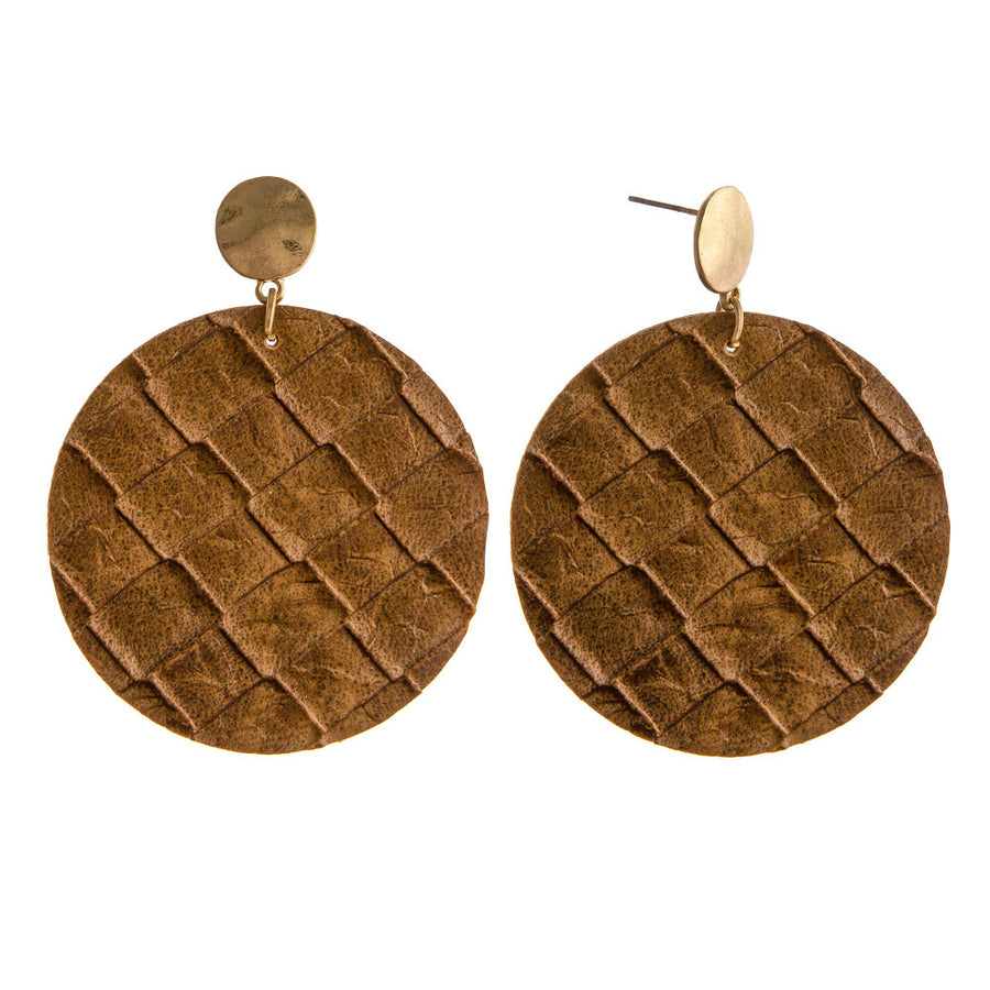 Faux Leather Disc Earrings