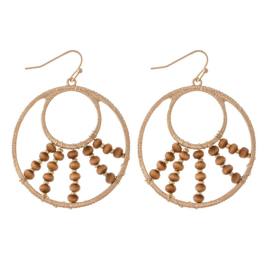 Wire Wood Earrings