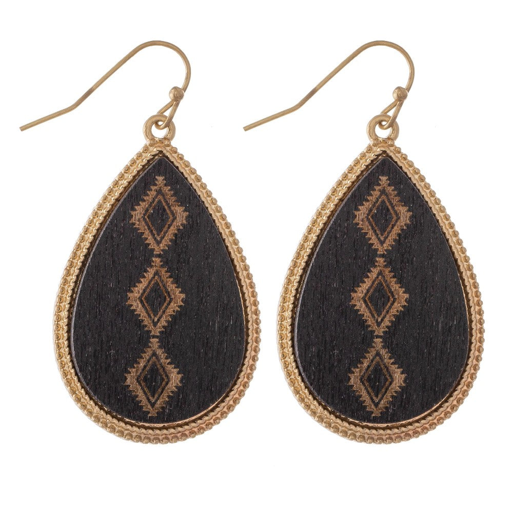 Wooden Stamped Earrings