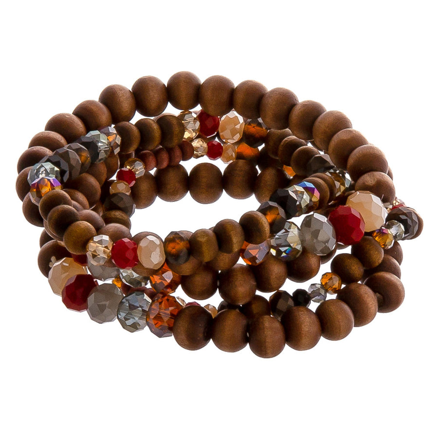 Wood and Bead Stretch Bracelet