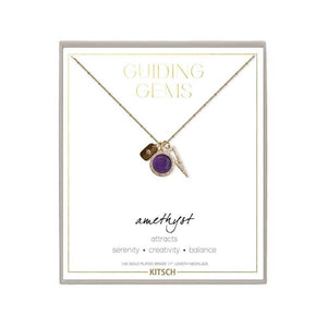 Amethyst Guiding Gems Cluster Charm Necklace