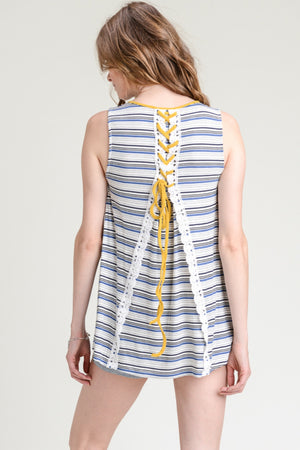 Back Lace Up Stripe Top