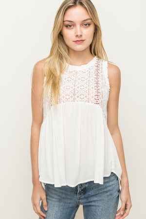 Lace Embroidered Tank