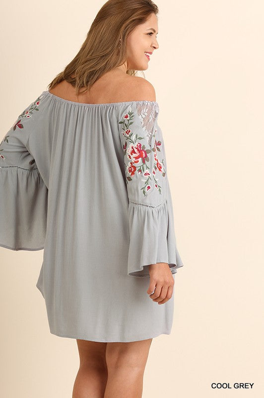 Off Shoulder Long Sleeve Dress with Floral Embroidered Bell Sleeves