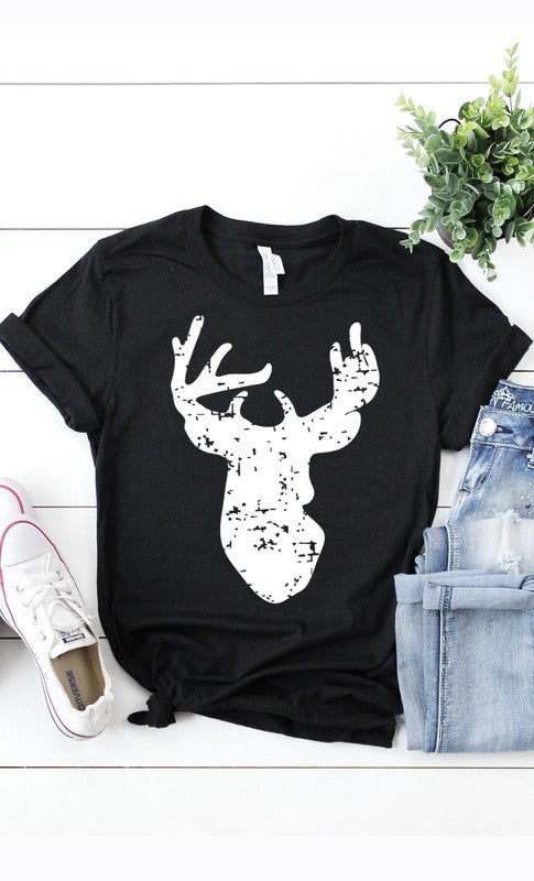 Distressed Deer Graphic Tee